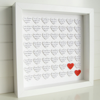 Personalised Hearts Frame - Wedding Engagement Anniversary Gift - Song Words