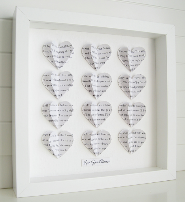 Personalised frame wedding gift custom word 3 folksy personalised frame wedding gift custom word 3d hearts song lyric keepsake negle Images