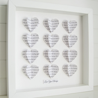 Personalised Frame Wedding Gift - Custom Word 3D Hearts - Song Lyric Keepsake