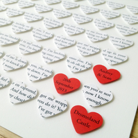 Unframed Personalised Custom Heart Artwork - Wedding Anniversary Engagement Gift