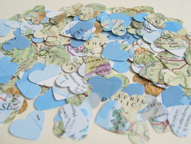 400 Confetti Map Atlas Hearts - Wedding Travel Vintage Decor - Heart Die Cut