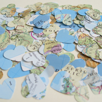 500 Confetti Map Atlas Hearts - Wedding Travel Vintage Decor - Heart Die Cut