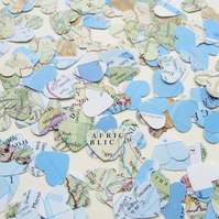 200 Confetti Map Atlas Hearts - Wedding Birthday Travel - Table Decor
