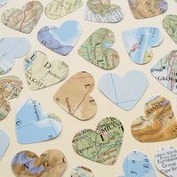 100 Confetti Map Atlas Hearts - Wedding Birthday Travel Decor - Heart Die Cut
