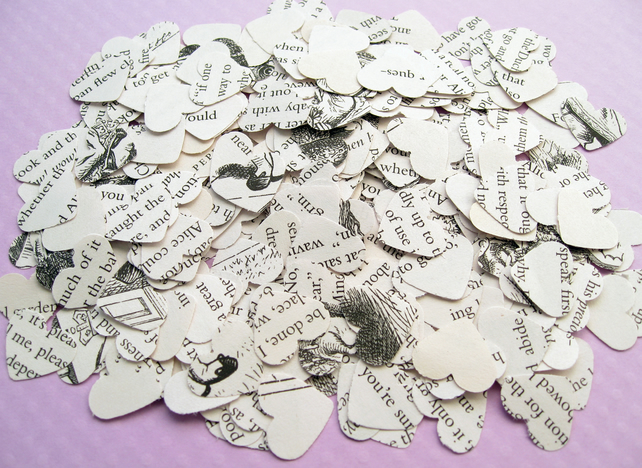 500 Roald Dahl Heart Novel Book Confetti - Wedding Vintage Table Decor