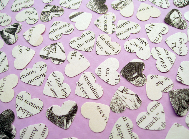 500 Alice In Wonderland Heart Book Confetti - Wedding Table Decor