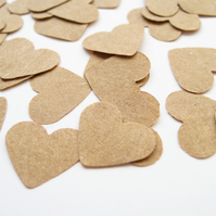 600 x 1 Inch Brown Kraft Paper Confetti Hearts - Wedding Decor Party Rustic