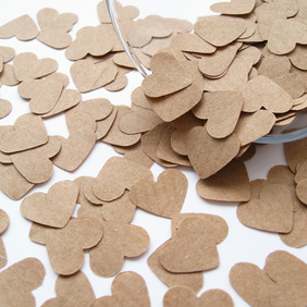 SPECIAL OFFER 1100 Brown Kraft Paper Confetti Hearts - Wedding Party Table Decor