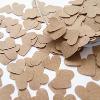 1000 Brown Kraft Paper Confetti Hearts - Wedding Decor, Party Vintage Decor
