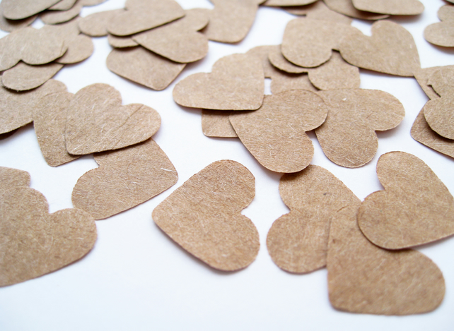 500 Brown Kraft Paper Confetti Hearts - Wedding Decor Party Rustic