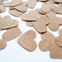 400 x 1 Inch Brown Kraft Paper Confetti Hearts - Wedding Decor Party Rustic