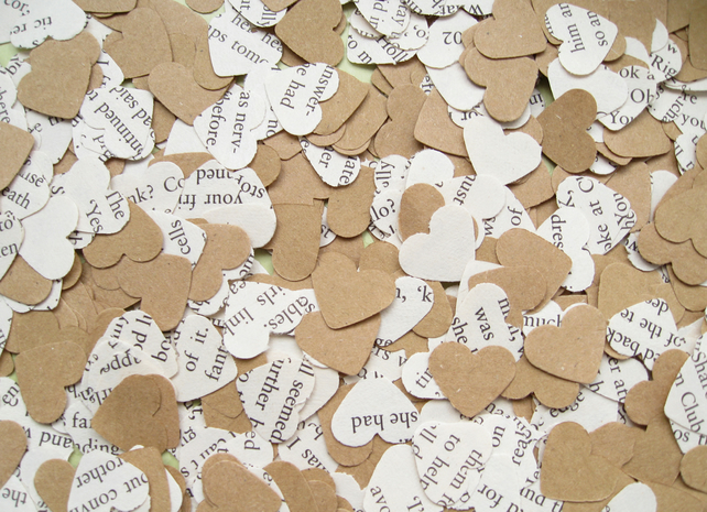 1000 Children's Novel Kraft Confetti Hearts - Choice of 8 Children's Books!