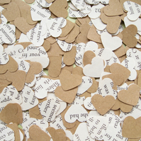 500 Pride and Prejudice Kraft Confetti Hearts - Wedding Engagement Party Decor