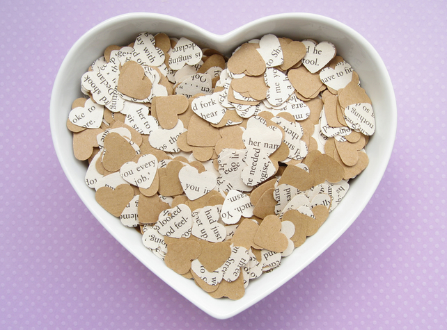 500 Great Gatsby Book Kraft Confetti Hearts - Wedding Engagement Party Decor