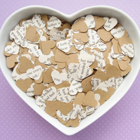 500 Shakespeare Book Kraft Confetti Hearts - Wedding Engagement Party Decor