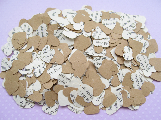 2000 Book Confetti Kraft Paper Hearts - Many book choices - Wedding Decor