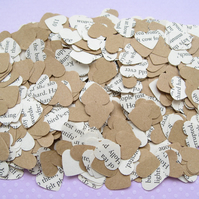 500 Mary Poppins Kraft Confetti Hearts - Wedding Engagement Birthday Party Decor