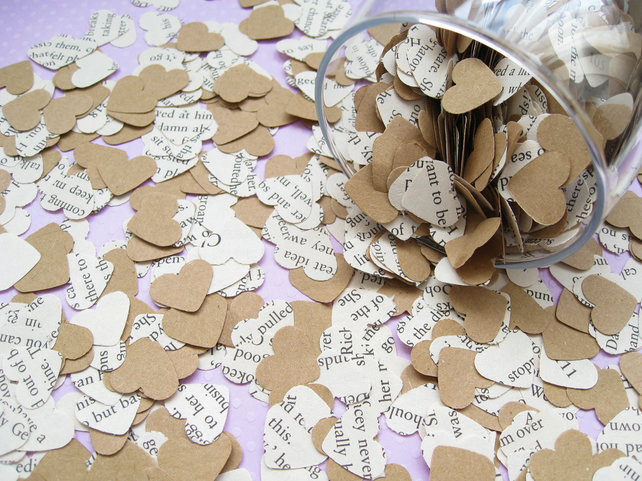 500 Heart Novel and Kraft Confetti Mix - 26 Books To Choose From - Wedding Decor