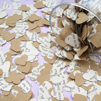 500 Heart Novel and Kraft Confetti Mix - 24 Books To Choose From - Wedding Decor