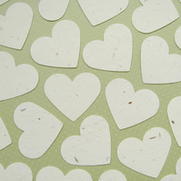 10 x 2 inch Cream Plantable Seed Hearts - Flower Seed - Wedding Favours