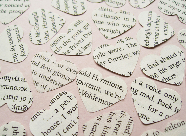 500 Harry Potter Heart Novel Book Confetti - Wedding Table Decoration Hearts
