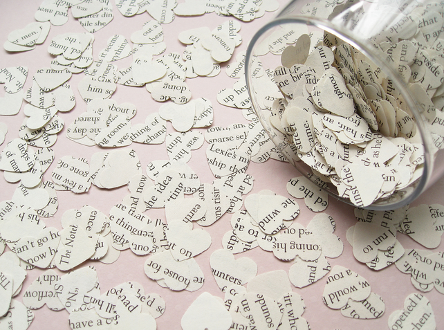 1000 Pride and Prejudice Heart Novel Book Confetti - Wedding Table Decor Hearts
