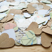 1000 Map Kraft Confetti Hearts Mix - Wedding Birthday Travel - Rustic Decor