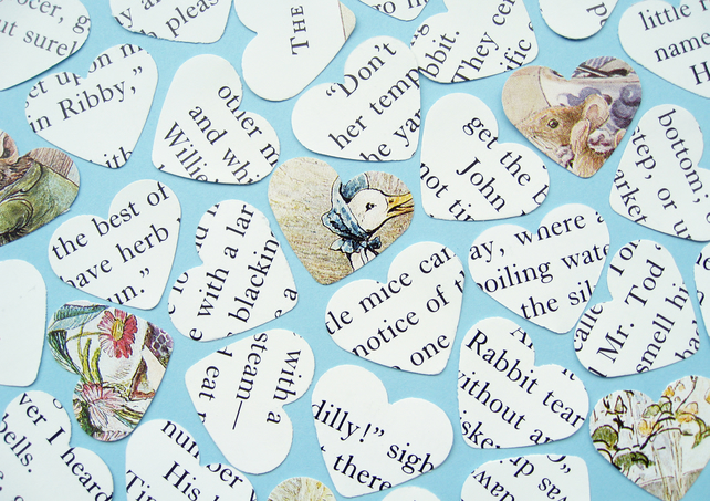 250 Beatrix Potter Heart Confetti - Baby Shower, Birthday Party, Christening