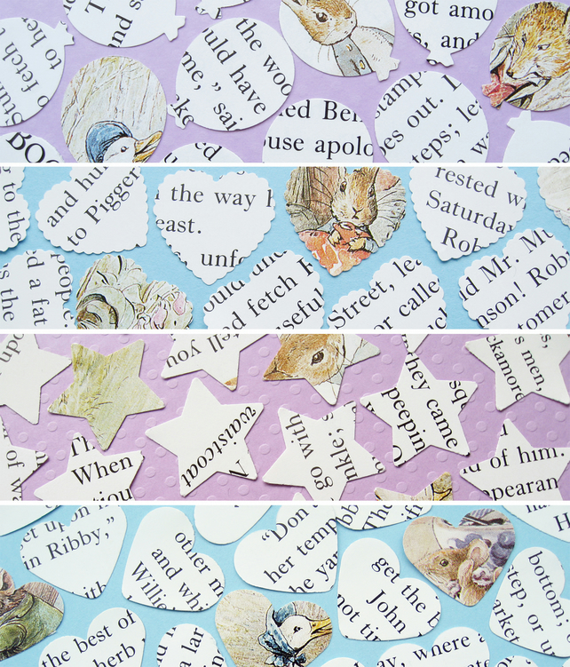 250 Beatrix Potter Confetti - 4 shape choices - Baby Shower Christening Party