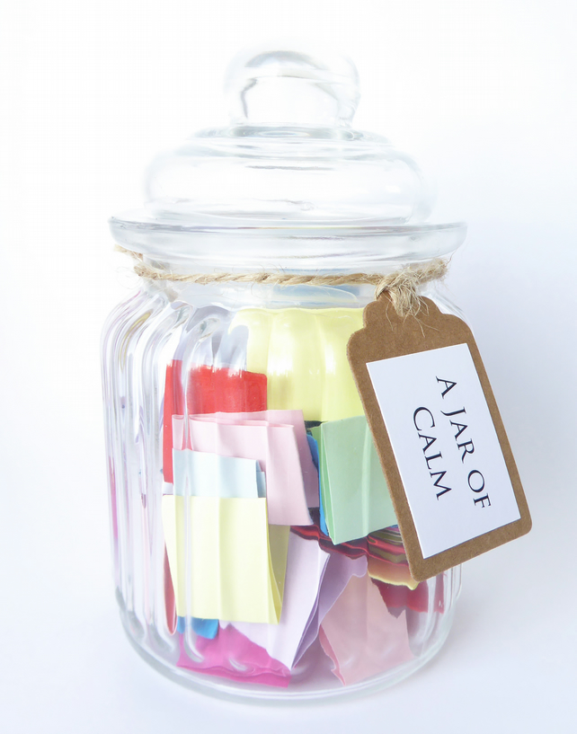 A Jar of Calm - Filled with calming quotes and affirmations - Handmade Quote Jar