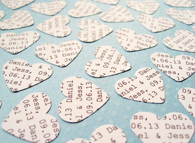 200 Personalised Heart Confetti - Custom Hearts - Wedding Decor