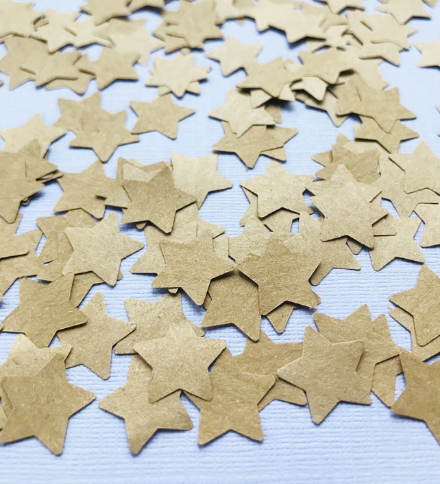 1000 Brown Kraft Paper Confetti Stars Wedding Rustic Table Decor