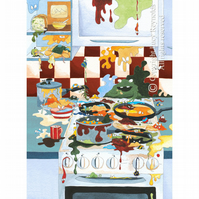 Messy Kitchen Hob Card