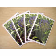 Set of 4 Flower Notecards