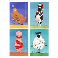 Farmyard Christmas Cards (Pack of 4)