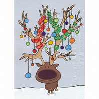 Antlers Christmas Card A6