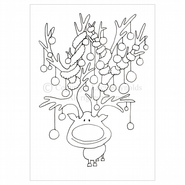 Colour-me-in Reindeer Card