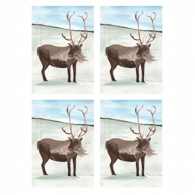 Reindeer Christmas Cards A6 - Pack of 4