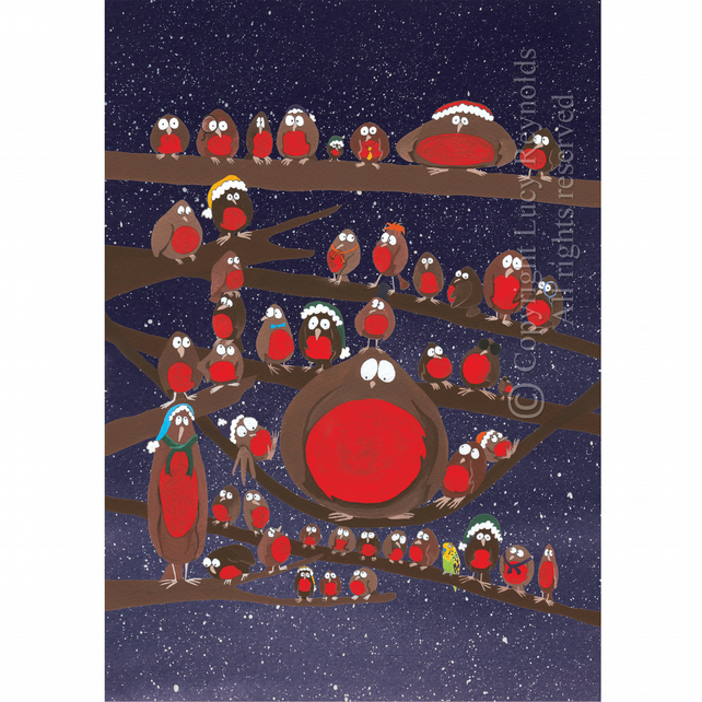Robins Christmas Card A6