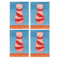 Pig Christmas Cards (Pack of 4)