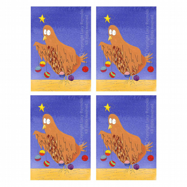 Chicken Christmas Cards (set of 4)