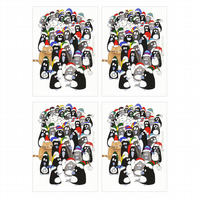 Pack of 4 'Penguins' A6 Christmas Cards