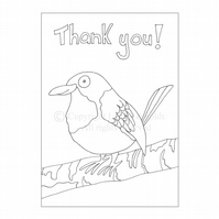 Colour-me-in Thank You Card - Bird