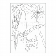 Colour-me-in Thank You Card - Parrot
