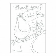 Colour-me-in Thank You Card - Toucan