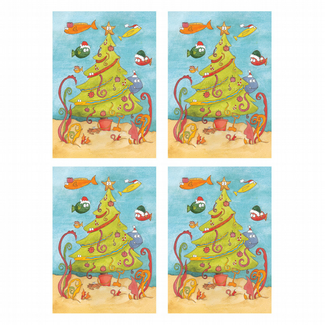 Underwater Christmas Cards (set of 4)