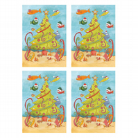 A5 Underwater Christmas Cards - Pack of 4