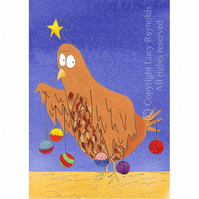 Chicken Christmas Card A6