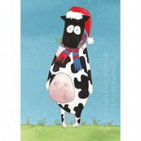 Cow Christmas Card A6
