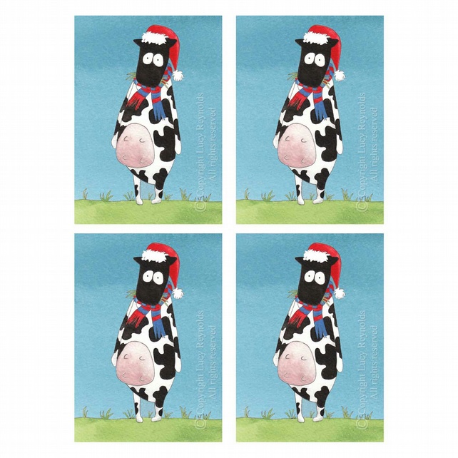 Cow Christmas Cards (set of 4)